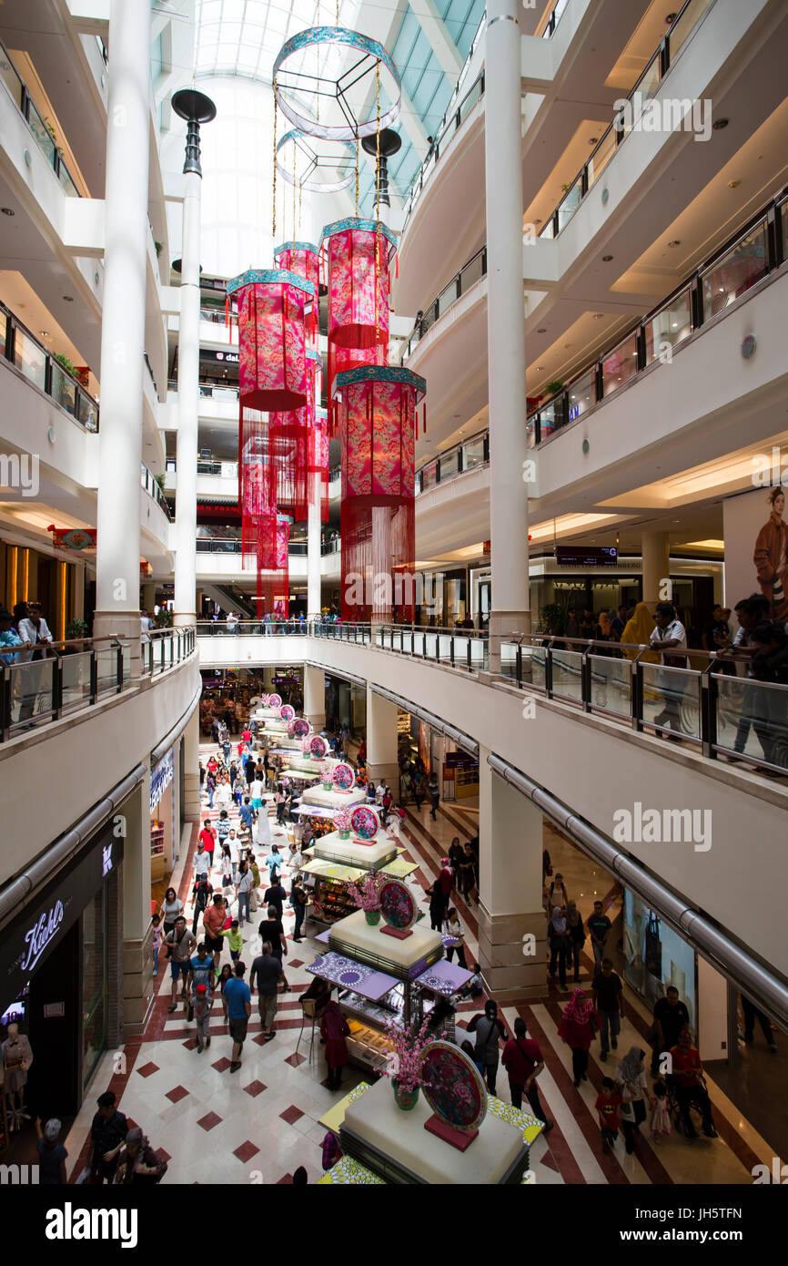 Interior of Suria KLCC a shopping mall located in the world famous Petronas Twin Towers in central Kuala Lumpur, - Stock Image