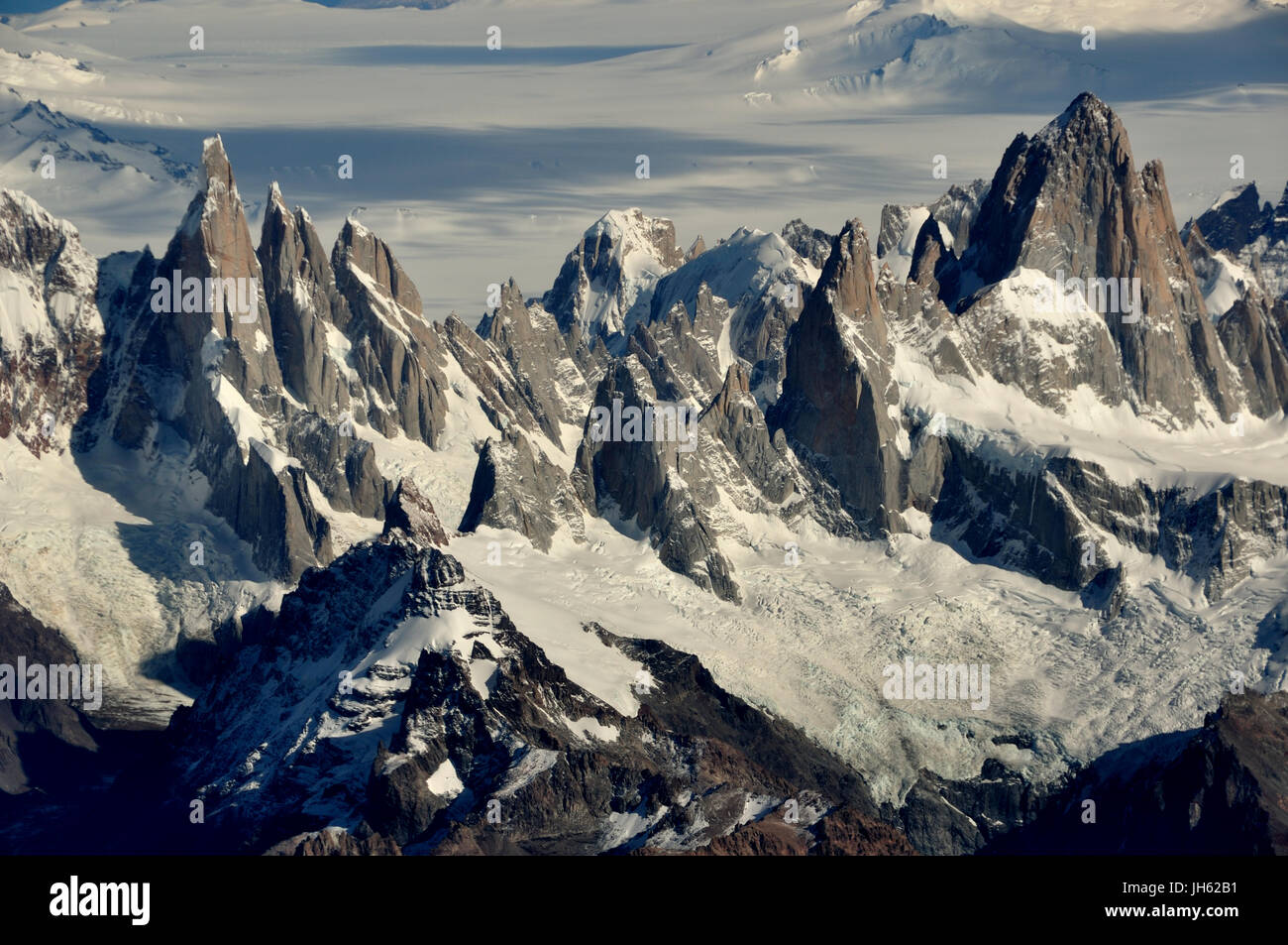 Aerial view of cerro fitz roy and cerro torre and the southern patagonian ice field in Patagonia, Argentina - Stock Image