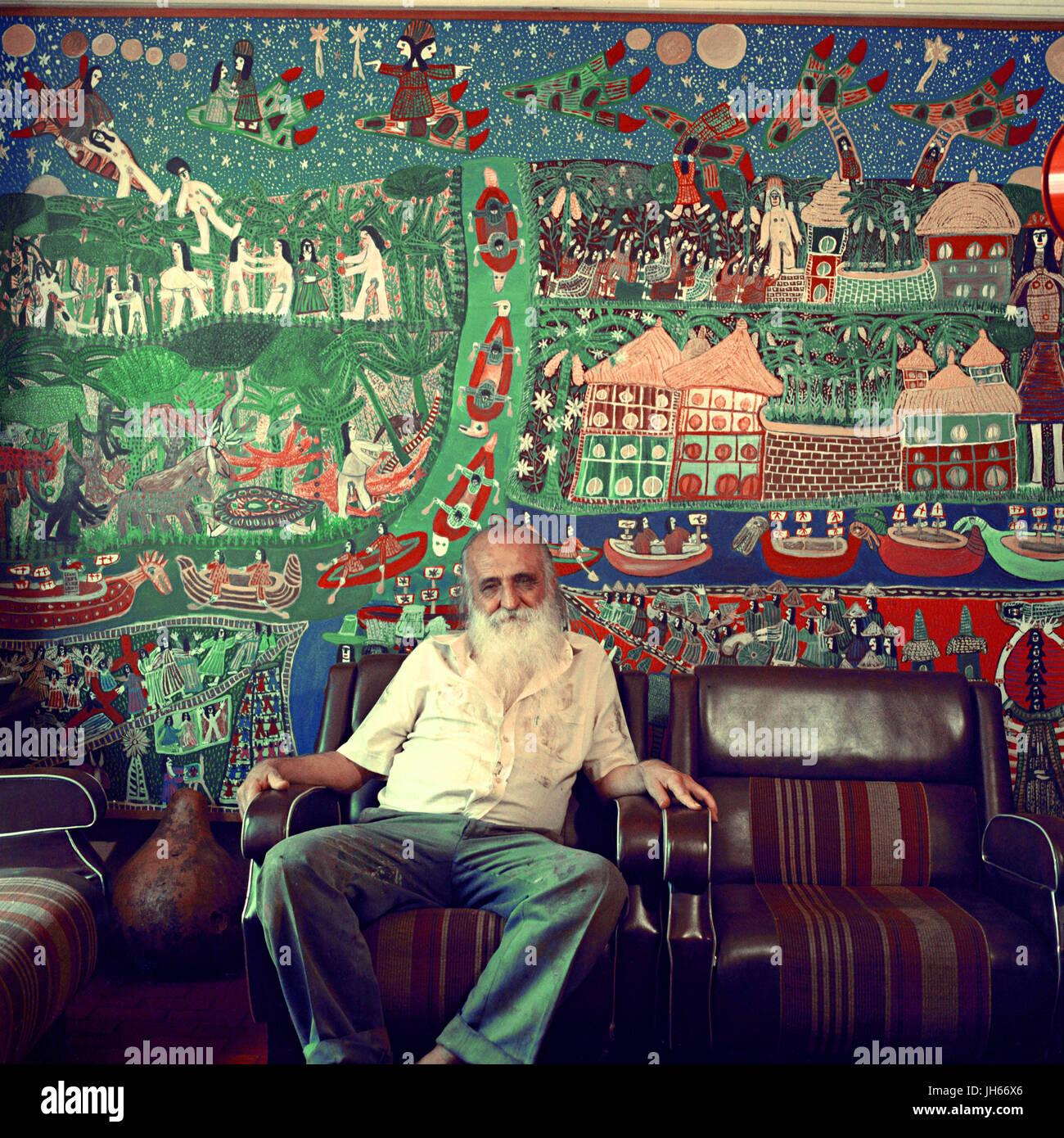 Artist, Antonio Poteiro, painter, Goiânia, Goiás, Brazil - Stock Image