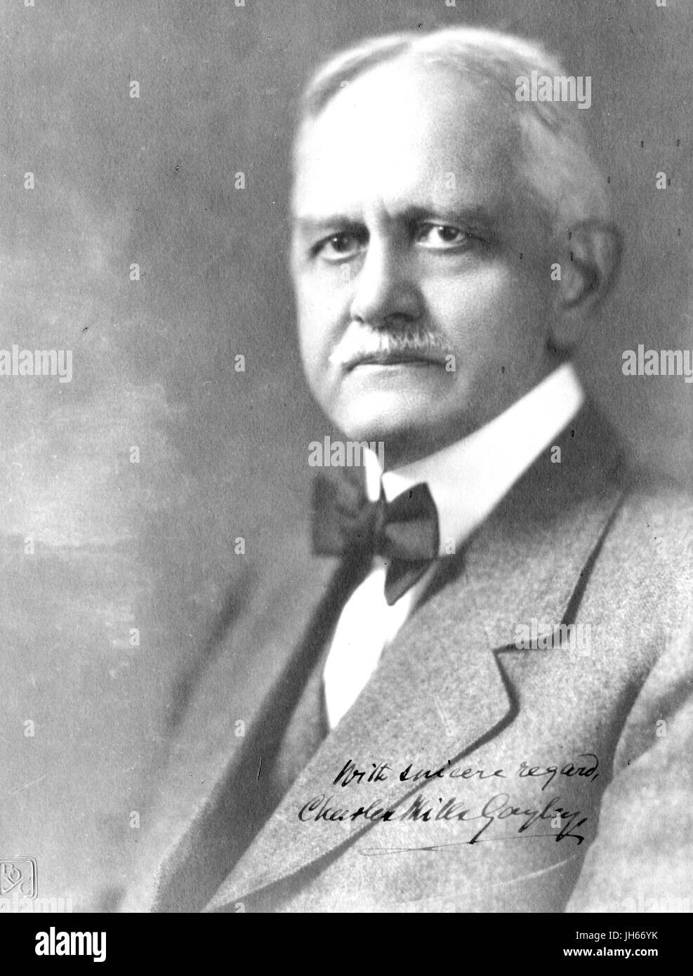 Waist up portrait photograph of Charles Mills Gayley, scholar and professor of English and classics, 1920. - Stock Image