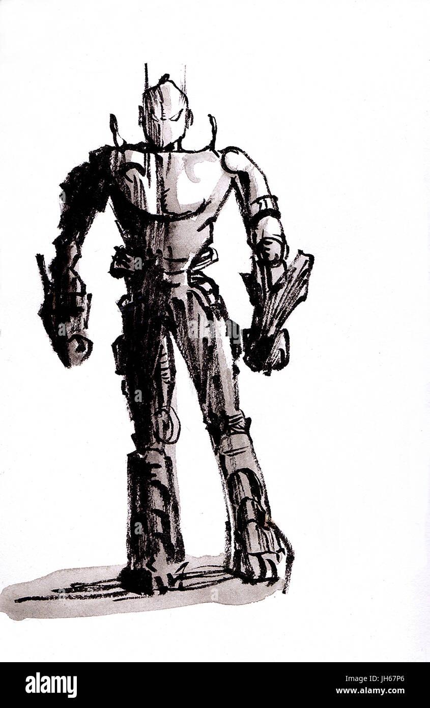 Robot sketch - Stock Image