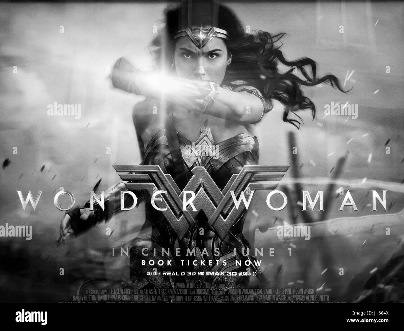 Motion picture poster advertising Wonder Woman, superhero film based on the DC Comics character staring Gal Gadot - Stock Image