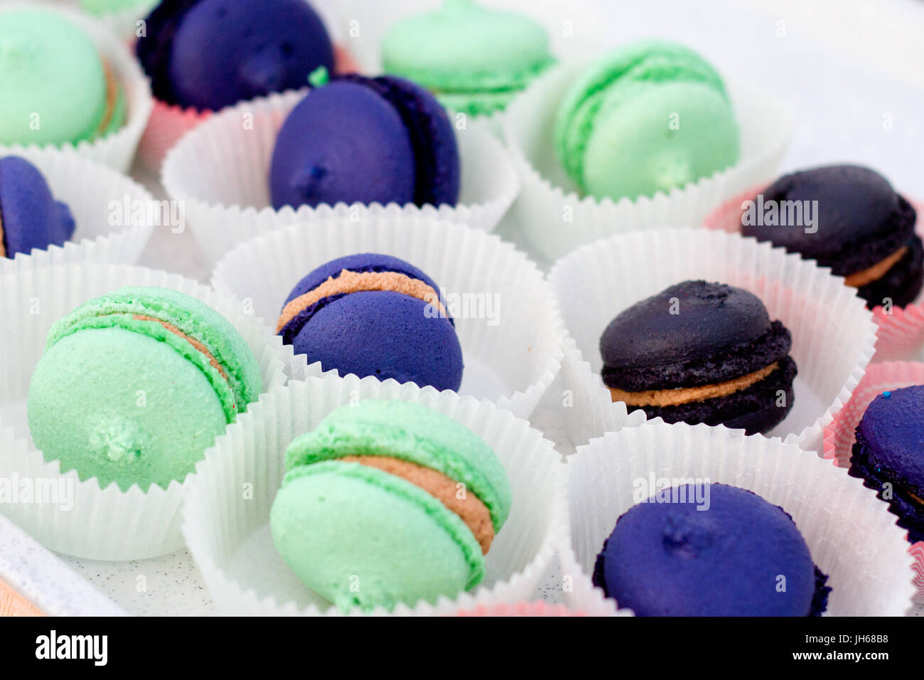 Colourful macarons - Stock Image