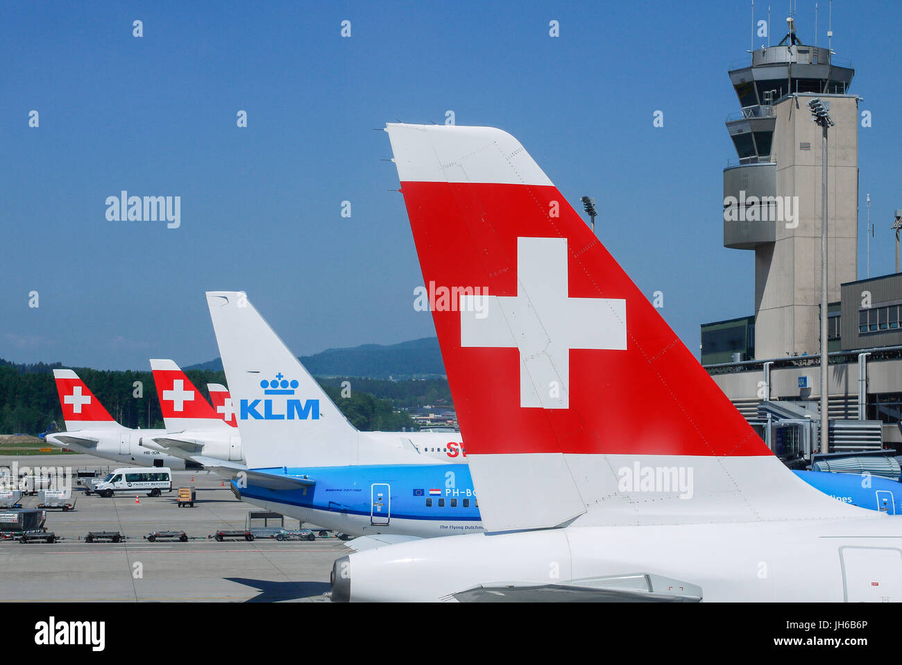 General view of Zurich airport (Swiss) - Stock Image
