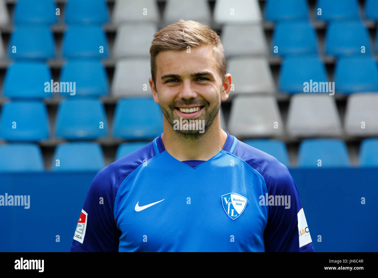 football, 2. Bundesliga, 2017/2018, VfL Bochum, team presentation for the game season, Lukas Hinterseer - Stock Image