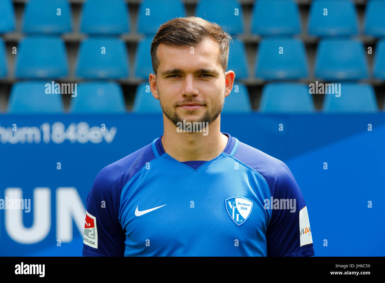 football, 2. Bundesliga, 2017/2018, VfL Bochum, team presentation for the game season, Kevin Stoeger - Stock Image