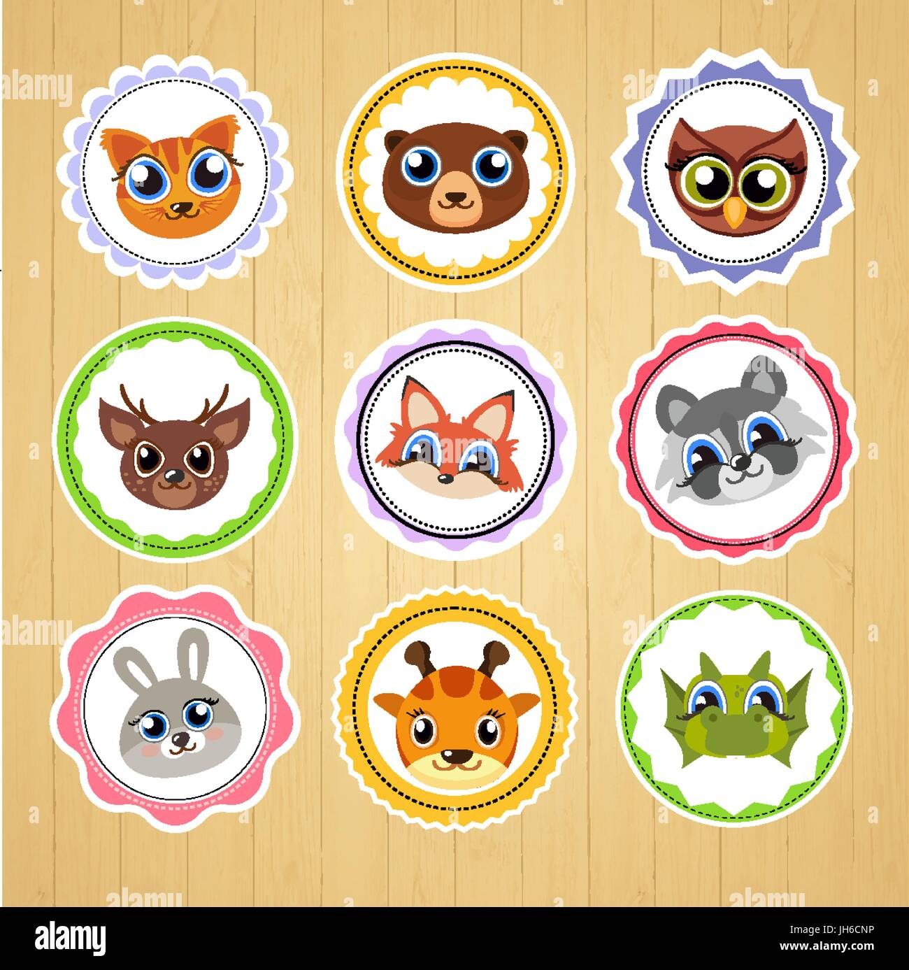 cartoon animal stickers. Suitable for decorating children s products. - Stock Vector