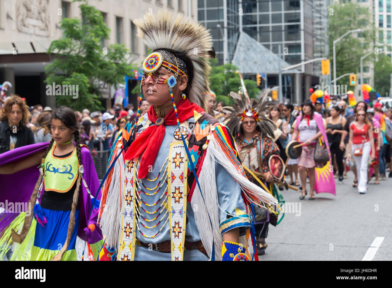 Toronto, Canada - 25 June 2017: First Nations people attend Toronto Gay Pride - Stock Image