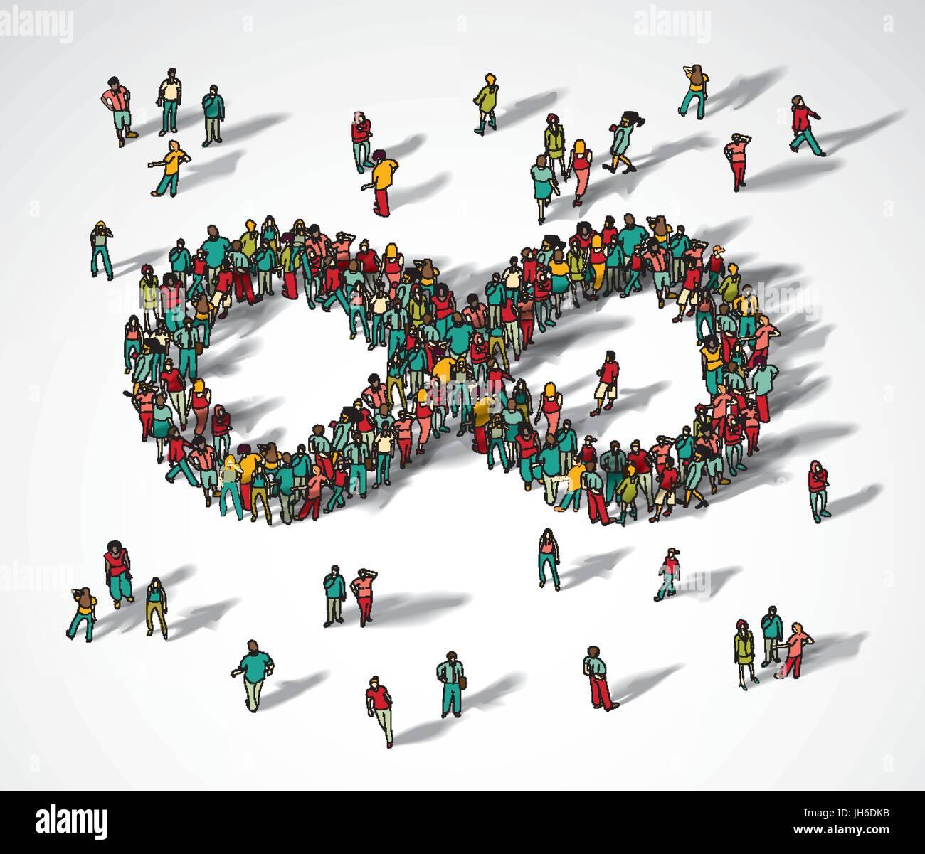 Infinity Symbol Crowd Big Group People Stock Vector Art