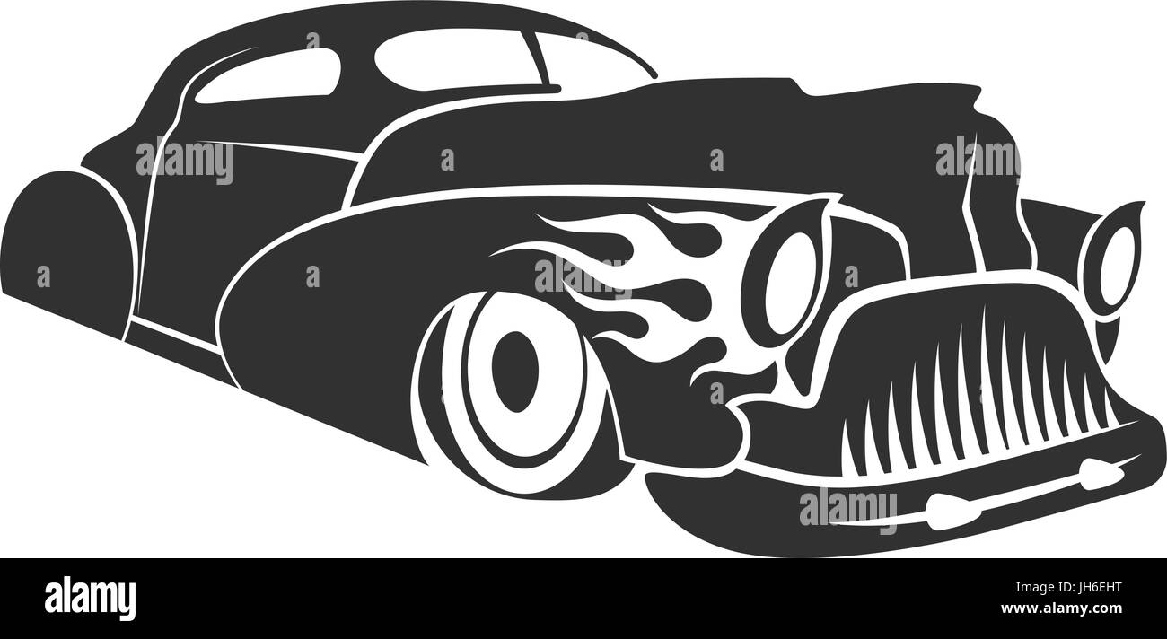 Old custom car silhouette, hot rod low rider coupe isolated vector illustration - Stock Image
