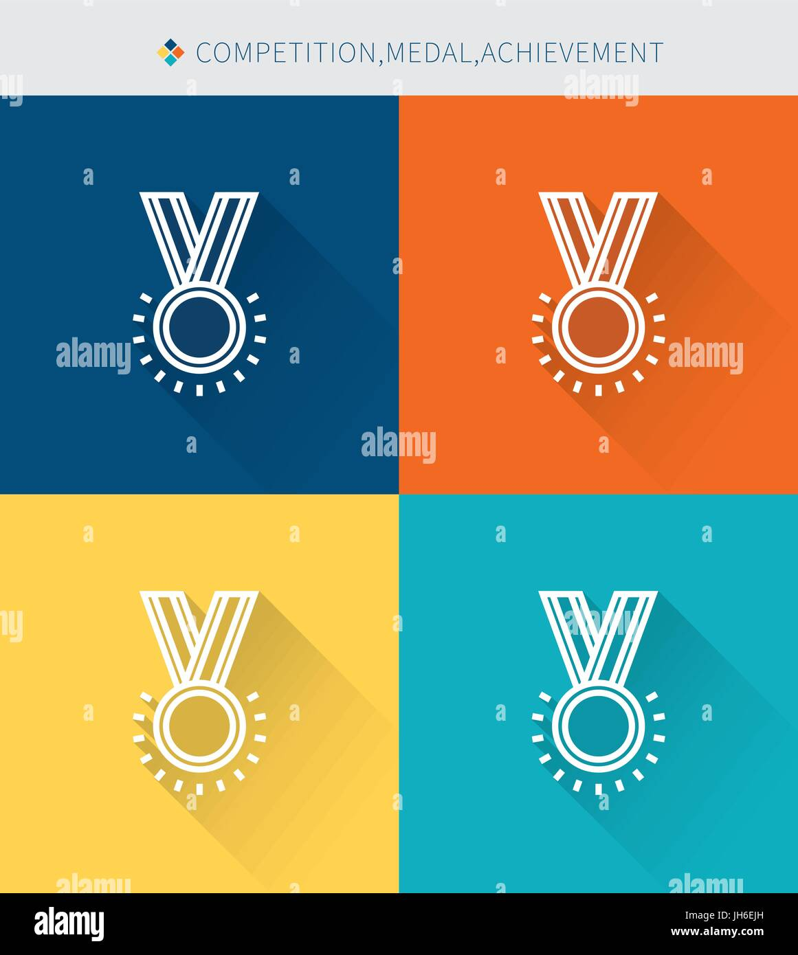 Thin thin line icons set of competition & medal and achievement , modern simple style - Stock Image