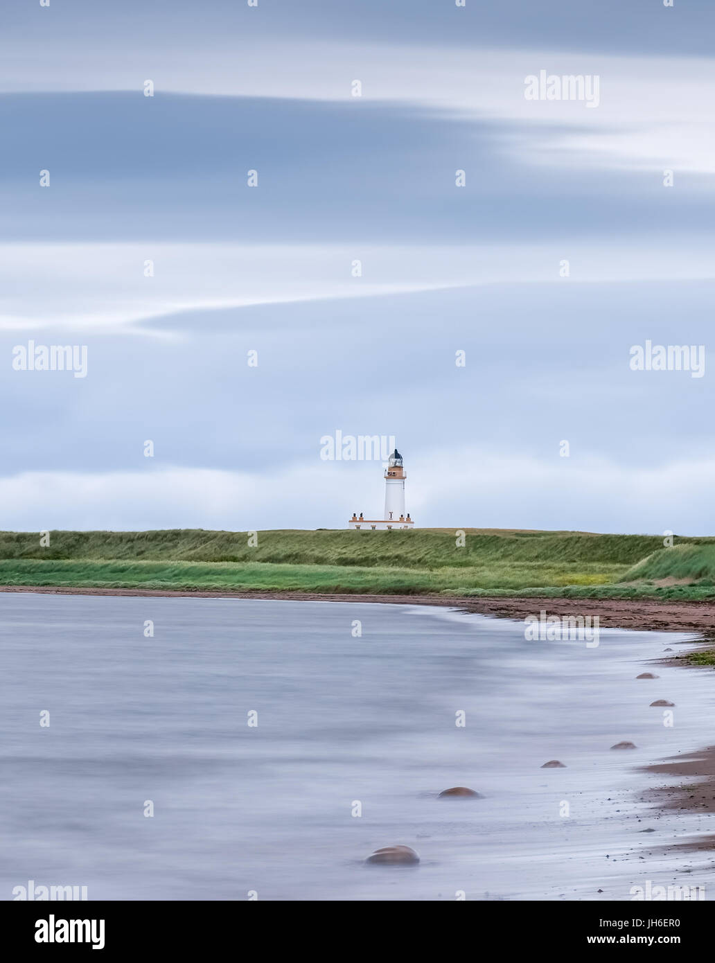 The Old Lighthouse in Turnberry Scotland on a cold july day. - Stock Image