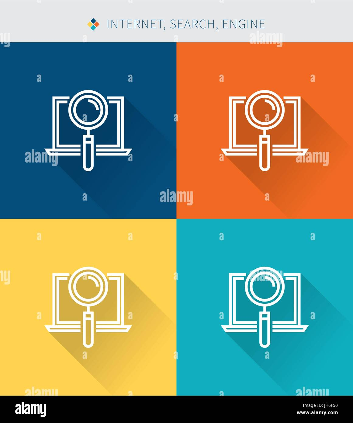 Thin thin line icons set of internet & search and engine ,modern simple style - Stock Image