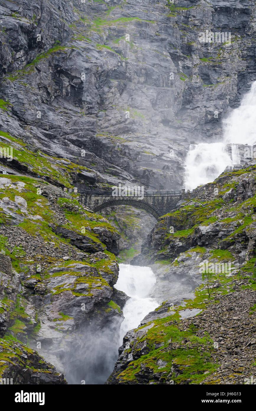 Waterfall at Trollstigen, Norway - Stock Image