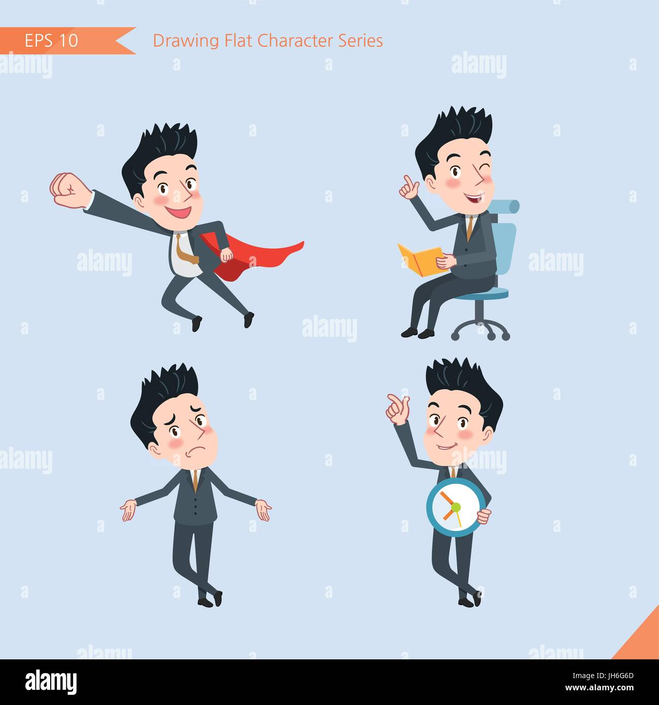 Set of drawing flat character style, business concept handsome offiece worker activities - business hero, Question, - Stock Vector