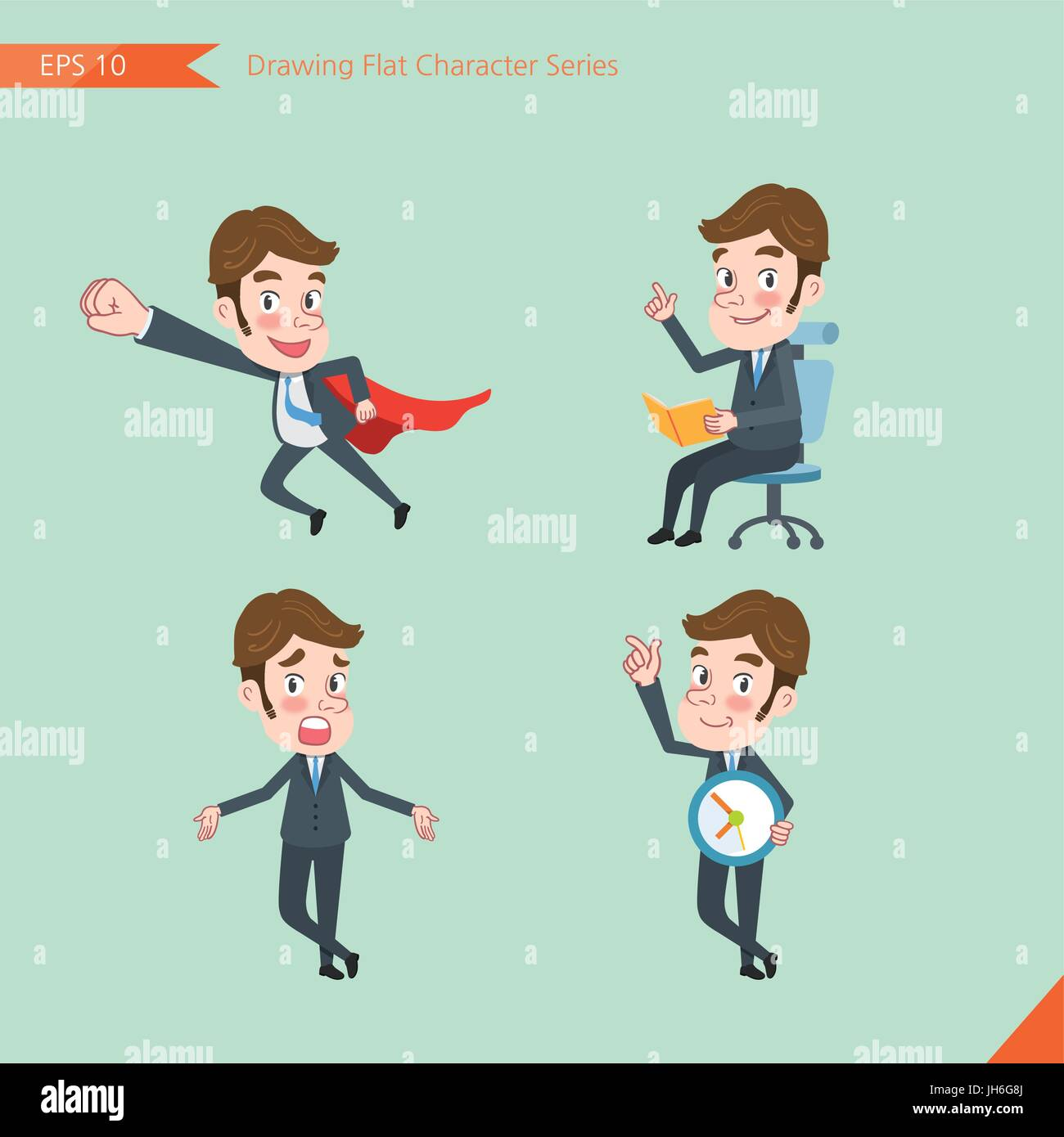 Set of drawing flat character style, business concept young office worker activities - business hero, Question, - Stock Vector