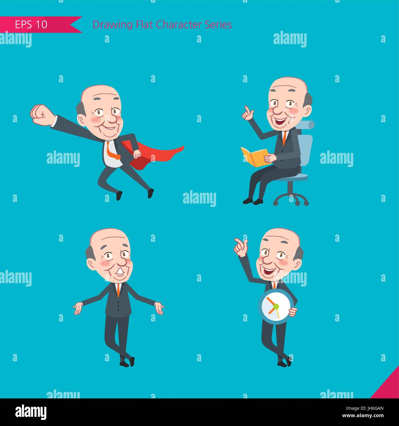 Set of drawing flat character style, business concept ceo activities - business hero, Question, time management, - Stock Vector