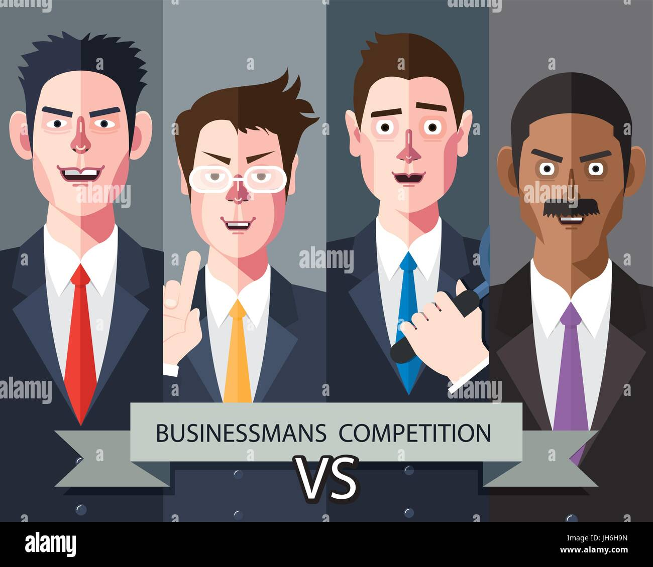 Flat characters of competition people concept illustrations - Stock Image