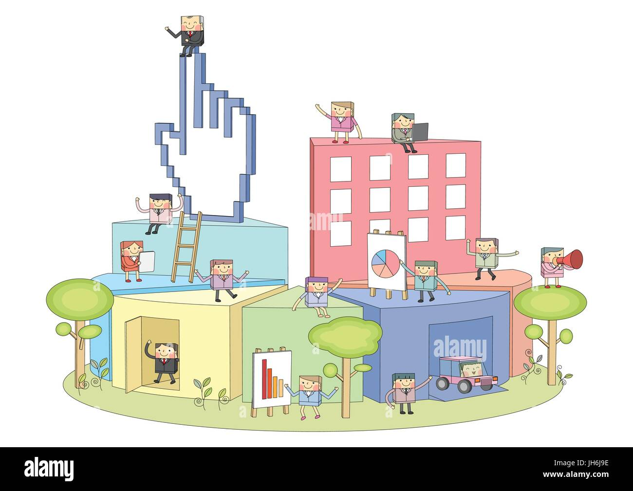 Summer holidays vector illustration,flat design parasol and boy - Stock Image