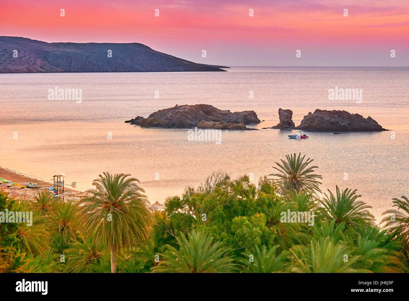 Crete Island- Vai Beach before sunrise, Greece - Stock Image