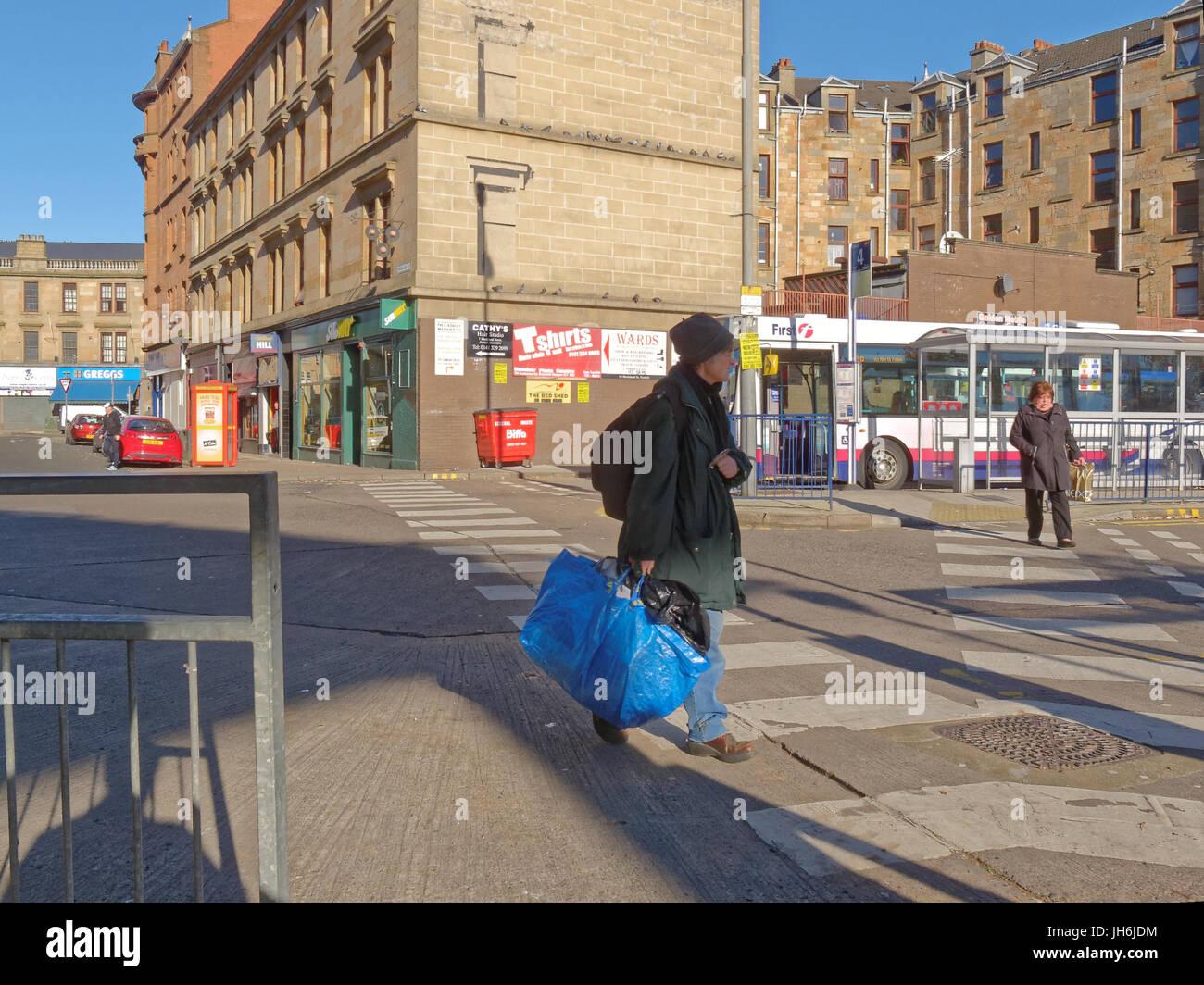 sunny Partick bus station travel hub Partick Glasgow - Stock Image