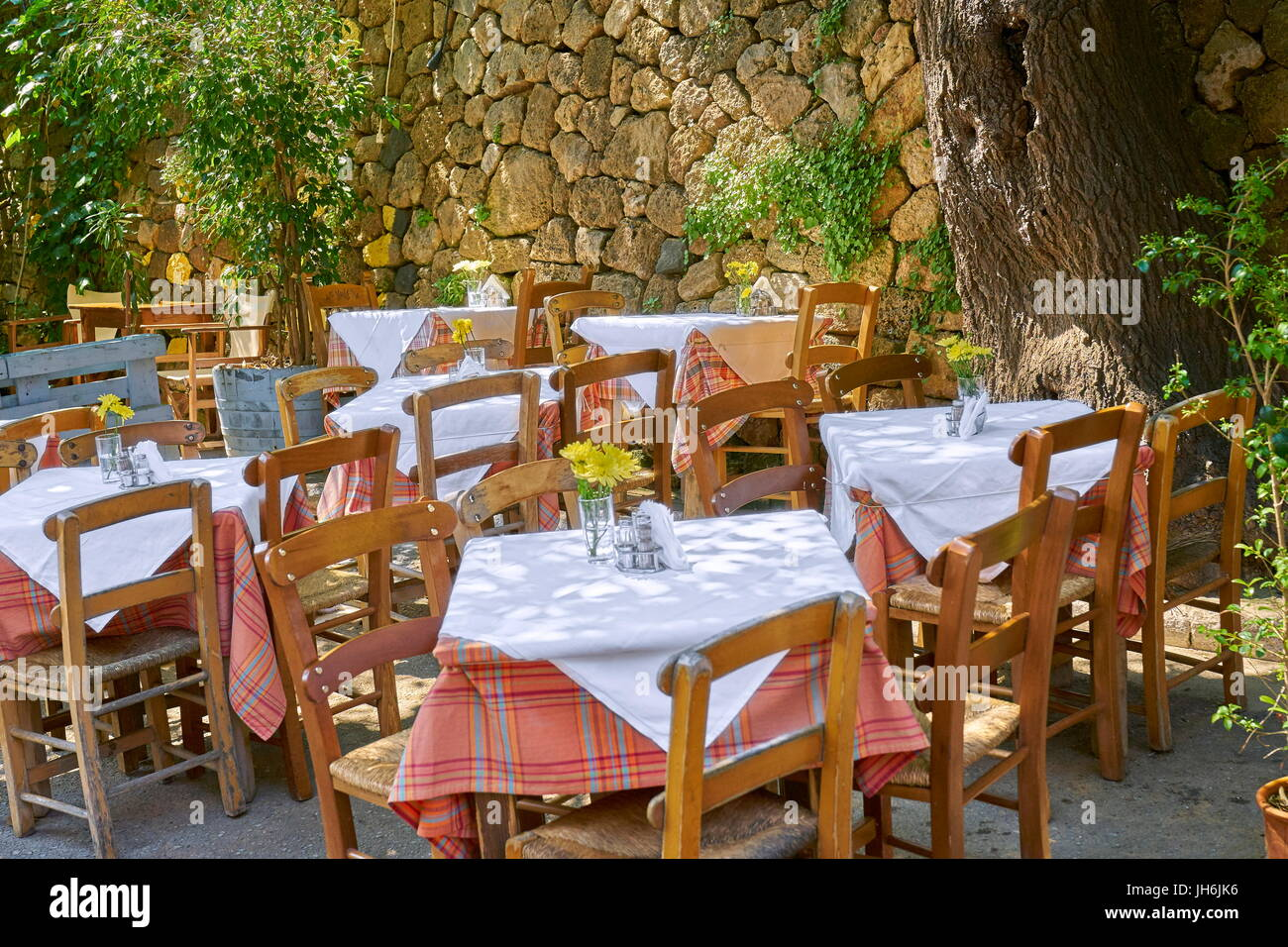 Restaurant at Chania Old Town, Crete Island, Greece - Stock Image