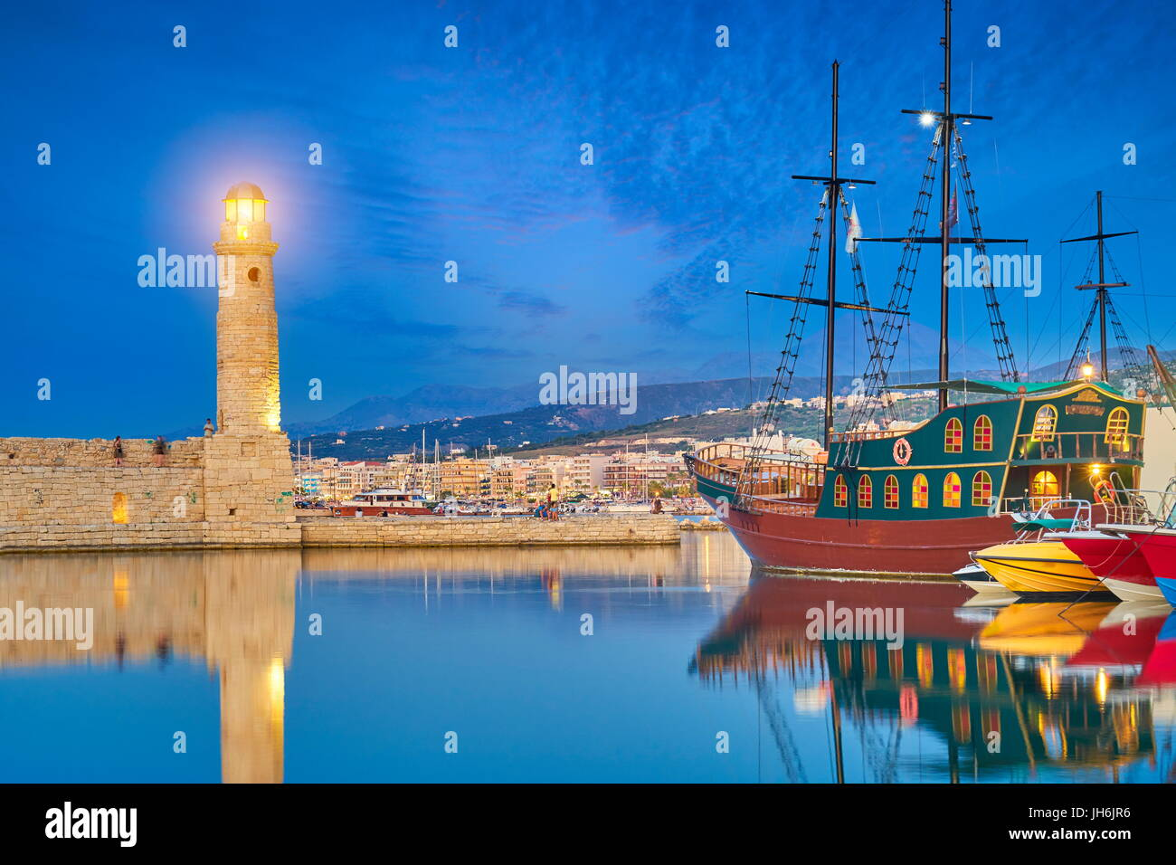 Lighthouse at Old Venetian Port, Rethymno, Crete Island, Greece - Stock Image