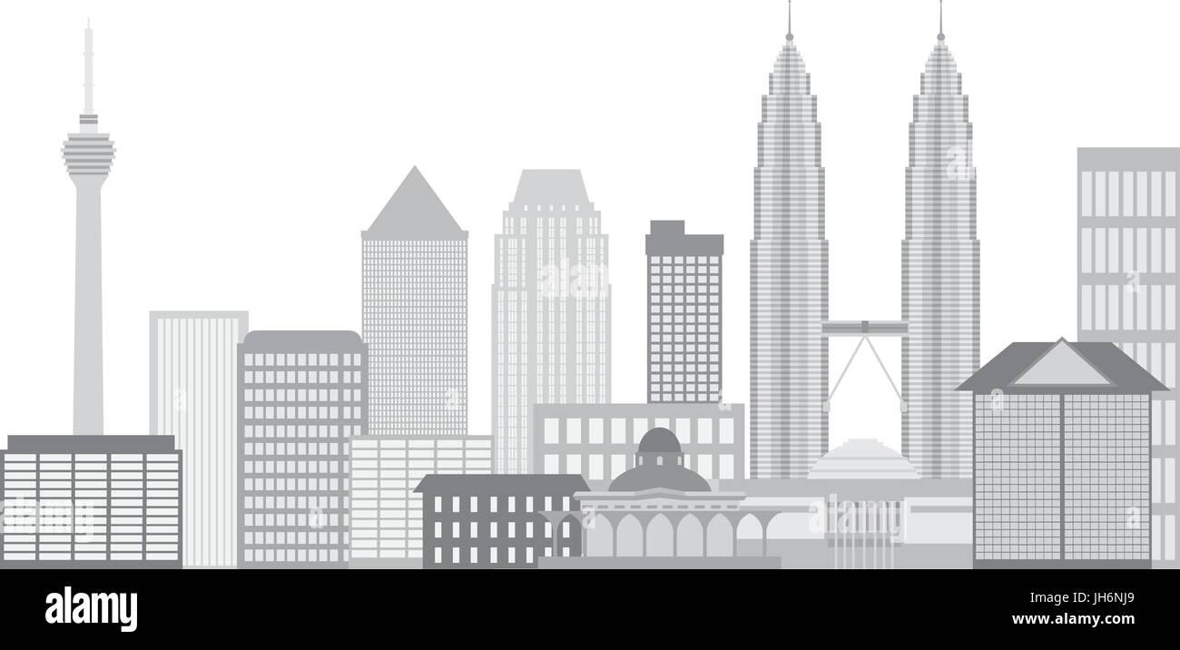 Kuala Lumpur Malaysia City Skyline Grayscale Isolated on White Background Illustration - Stock Vector