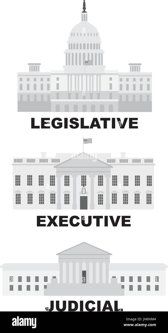 three branches of united states government legislative executive judicial buildings grayscale illustration