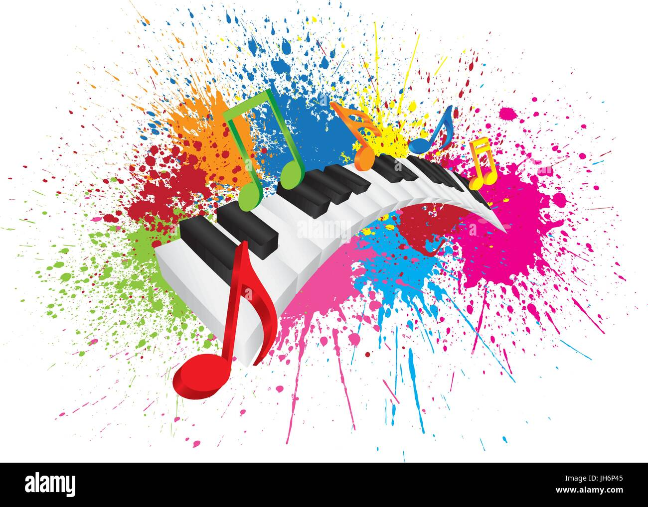 Piano Keyboard with Black and White Wavy Keys and Colorful Music Notes in 3D Paint Splatter Abstract Color Illustration - Stock Vector