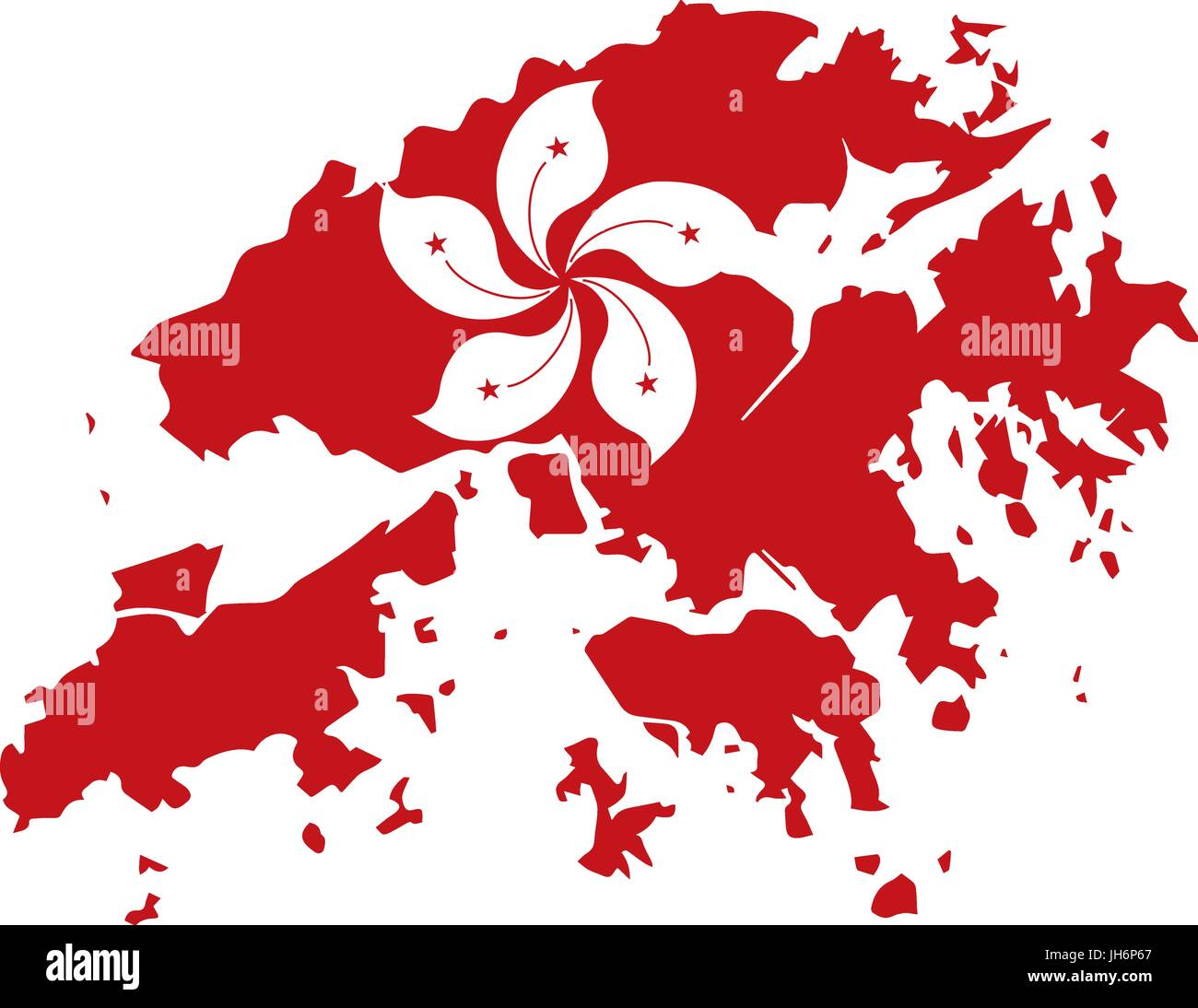 Hong Kong Flag in Red Map Outline Silhouette Illustration - Stock Vector