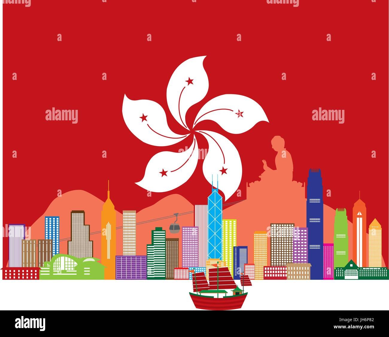 Hong Kong City Skyline and Big Buddha Statue Panorama in Hong Kong Flag Background Color Illustration - Stock Vector