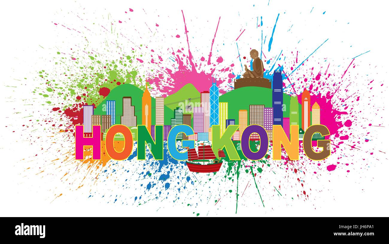 Hong Kong City Skyline and Big Buddha Statue Panorama Color Abstract Paint Splatter Text Isolated on White Background - Stock Vector
