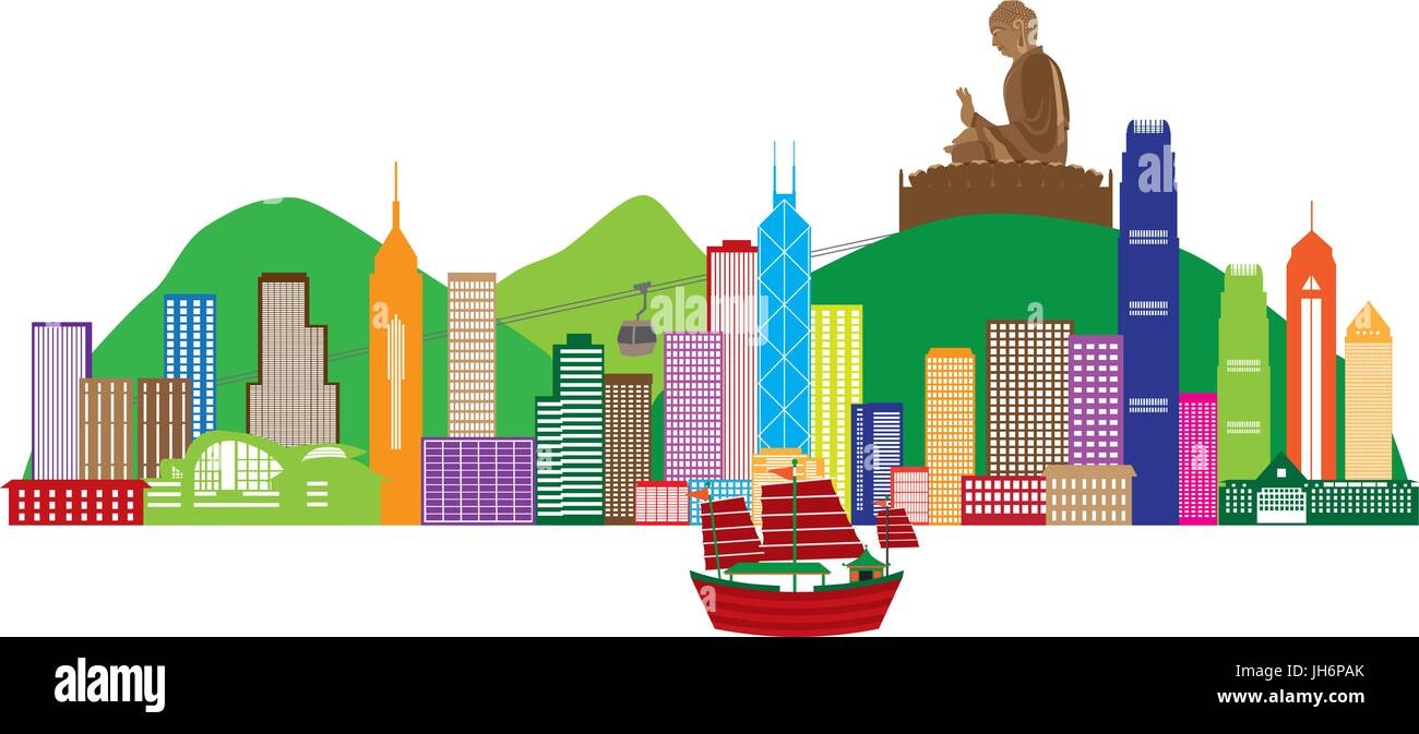 Hong Kong City Skyline and Big Buddha Statue Panorama Color Isolated on White Background Illustration - Stock Vector