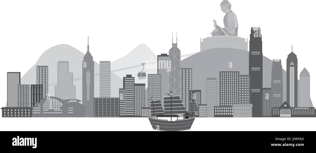 Hong Kong City Skyline and Big Buddha Statue Panorama Grayscale Isolated on White Background Illustration - Stock Vector