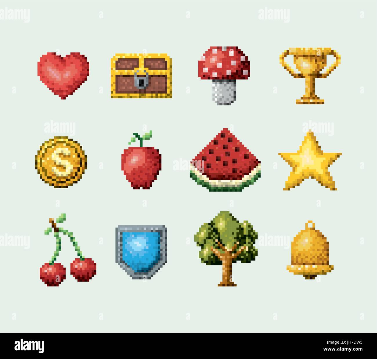color pixelated set of elements arcade game icons - Stock Vector