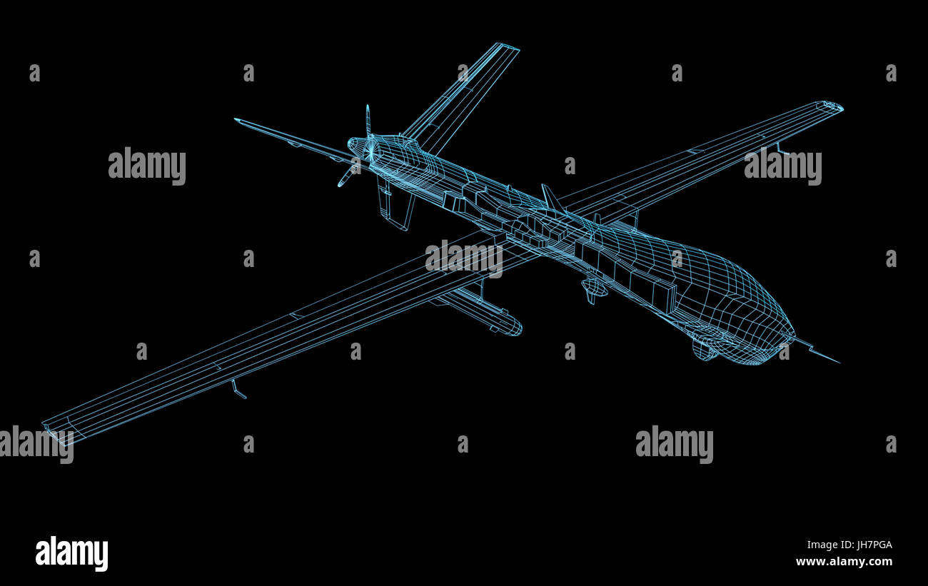 wireframe 3d render of military drone or UAV - Stock Image
