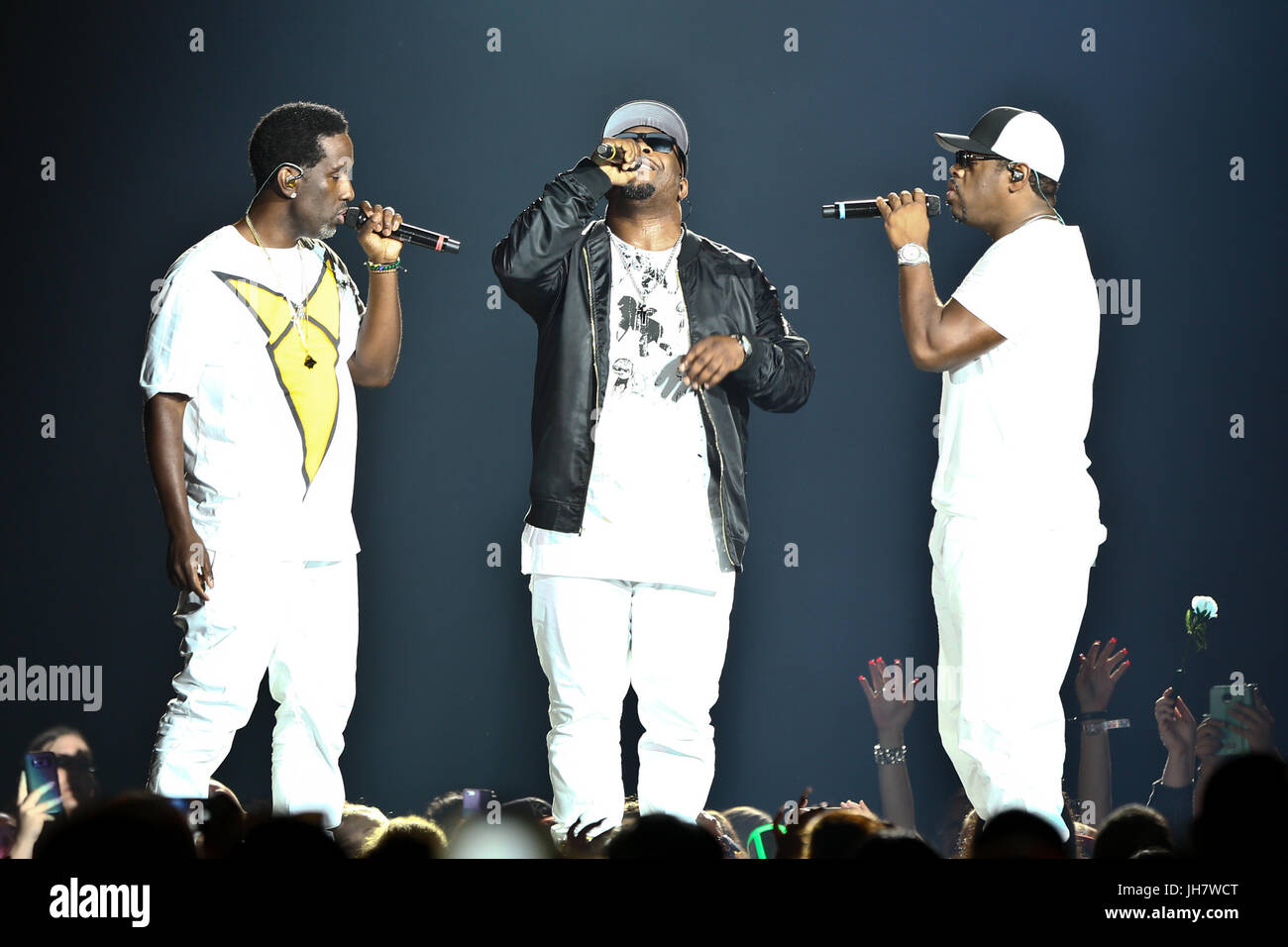 NEW YORK-JUL 7: (L-R) Shawn Stockman, Wanya Morris and Nathan Morris of Boyz II Men perform during The Total Package - Stock Image