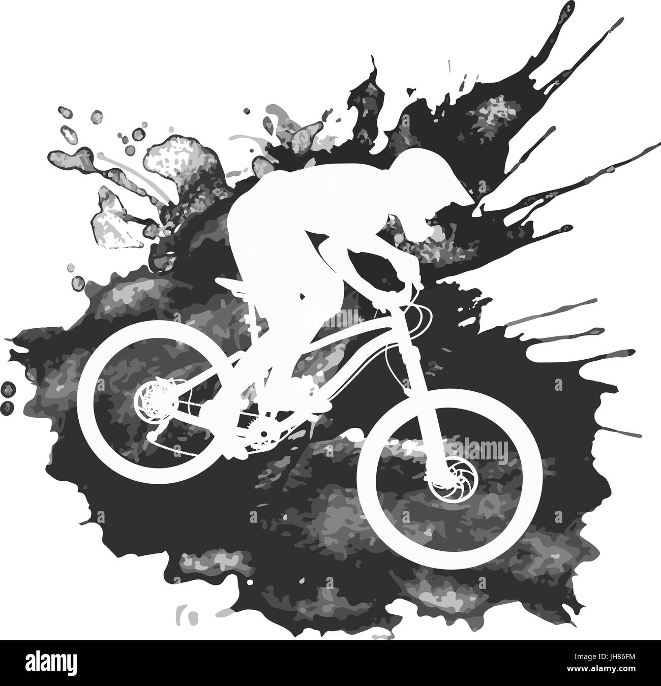 Silhouette Of A Biker Descending On A Mountain Bike On A Slope Stock