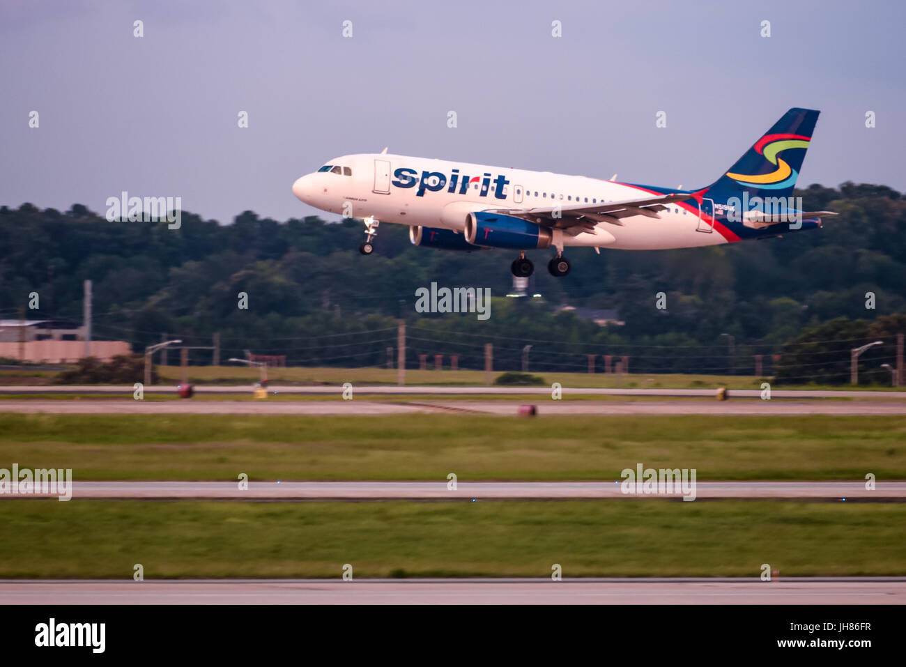 Spirit Airlines passenger jet at Hartsfield-Jackson Atlanta International Airport in Atlanta, Georgia, USA. - Stock Image
