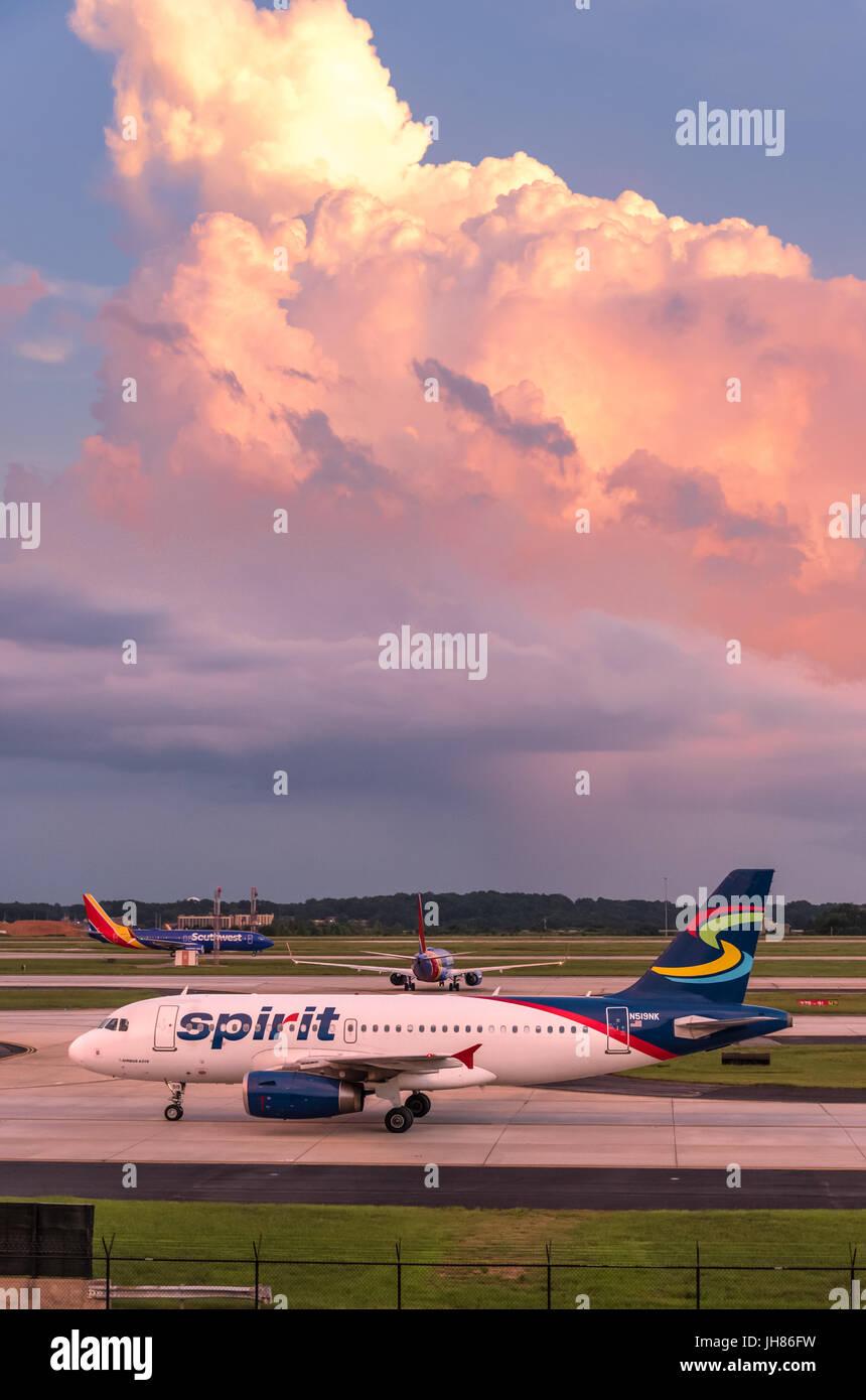 Spirit Airlines passenger jet at Hartsfield-Jackson Atlanta International Airport in Atlanta, Georgia, USA. - Stock Image