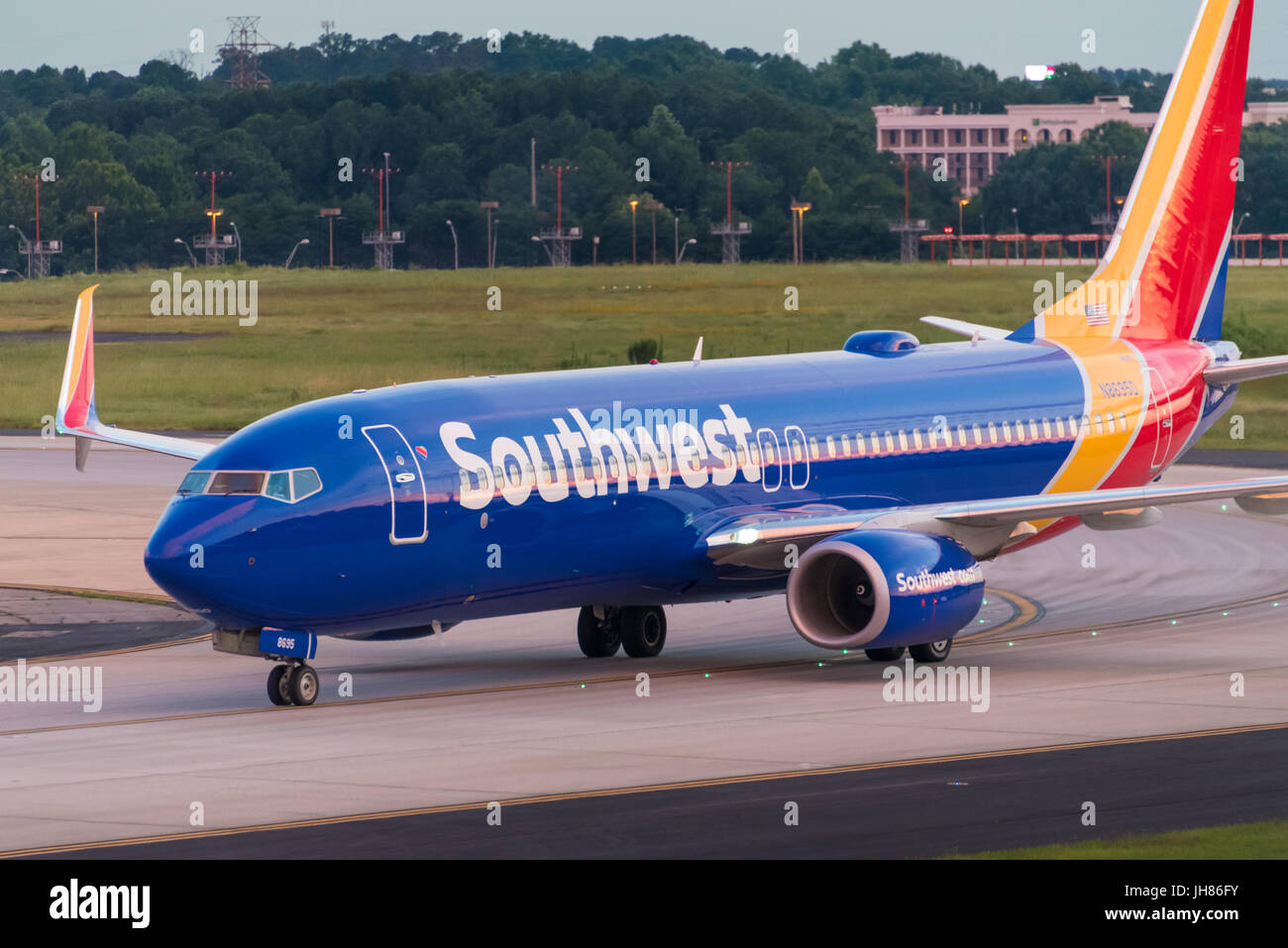 Southwest Airlines jet (Boeing 737-8H4) at Hartsfield-Jackson Atlanta International Airport in Atlanta, Georgia, - Stock Image