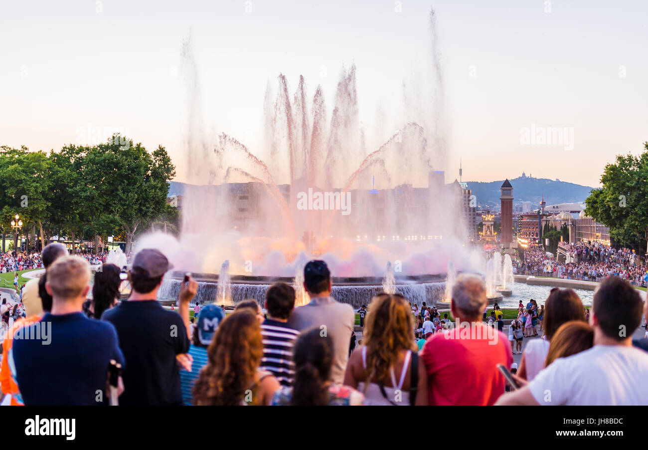 barcelona, spain - june 28, 2015 - tourist masses watching the magic fountain of mont juic - Stock Image