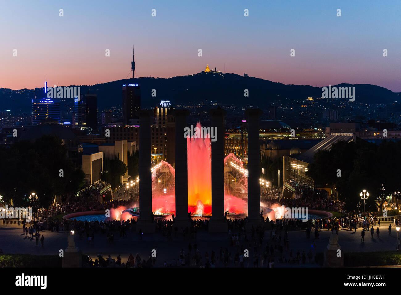 bARCELONA, SPAIN June 2015: view over font magica de mont juic - Stock Image