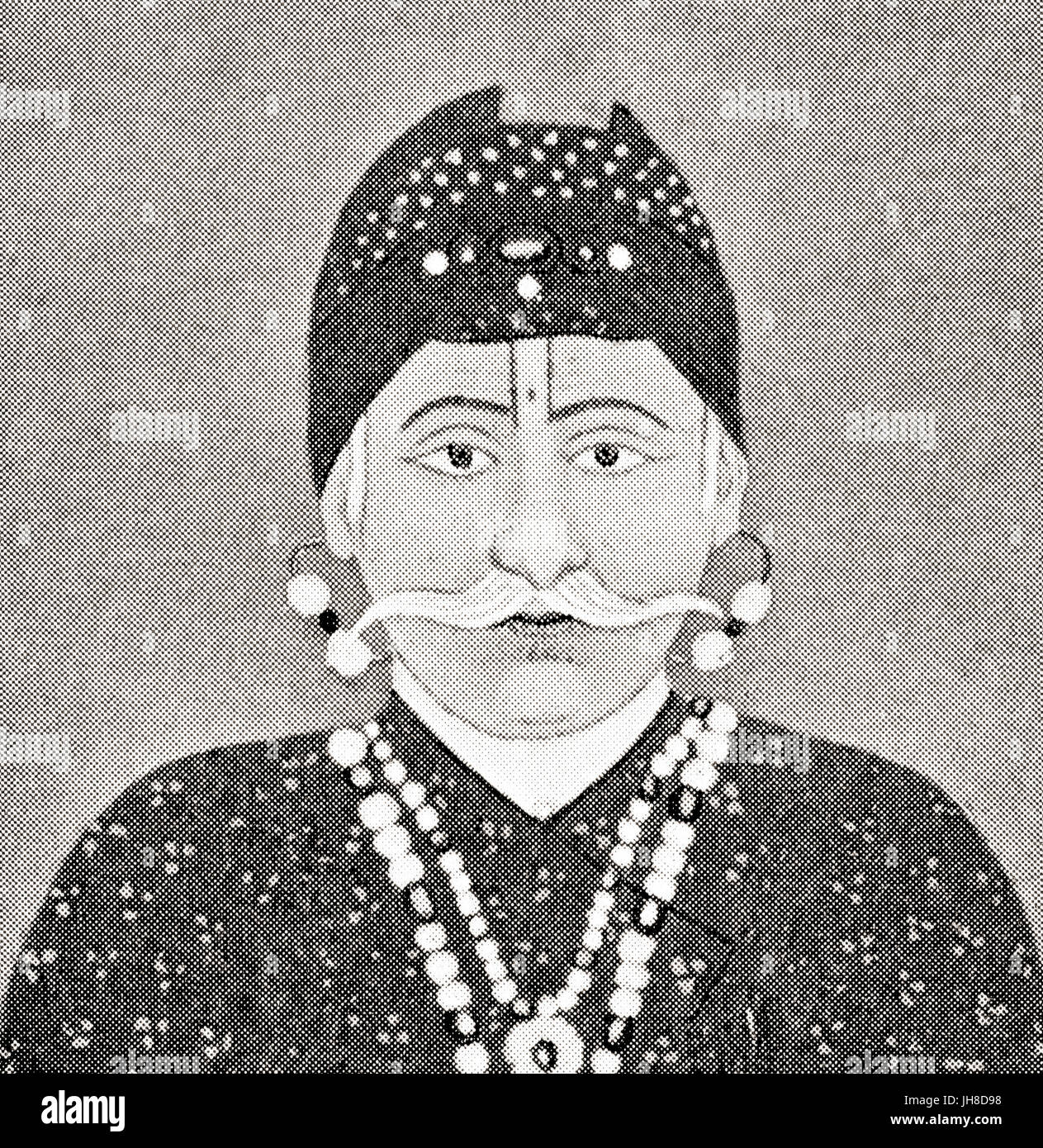 Abu'l-Fath Jalal-ud-din Muhammad, 1542 - 1605, aka Akbar I and Akbar the Great.  Third Mughal emperor,1556 to - Stock Image