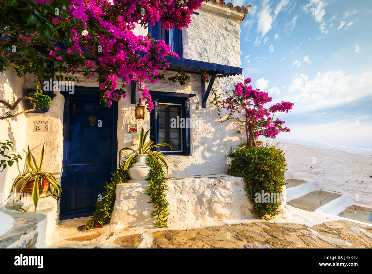 Facade of an old building in Skopelos town, Greece. - Stock Image