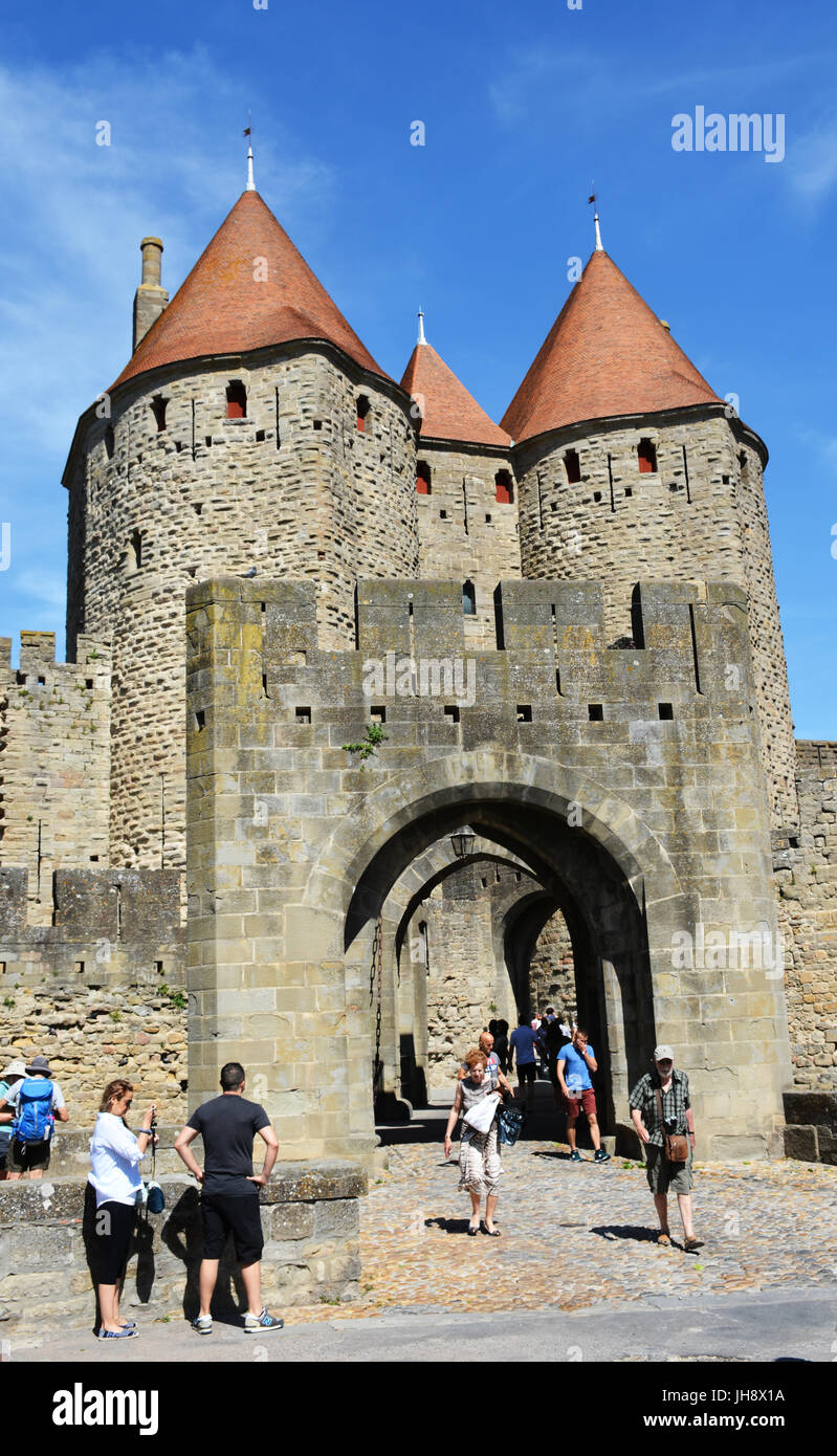 The medieval city of Carcassonne, Narbonnaise gate, Aude, Occitanie, France - Stock Image