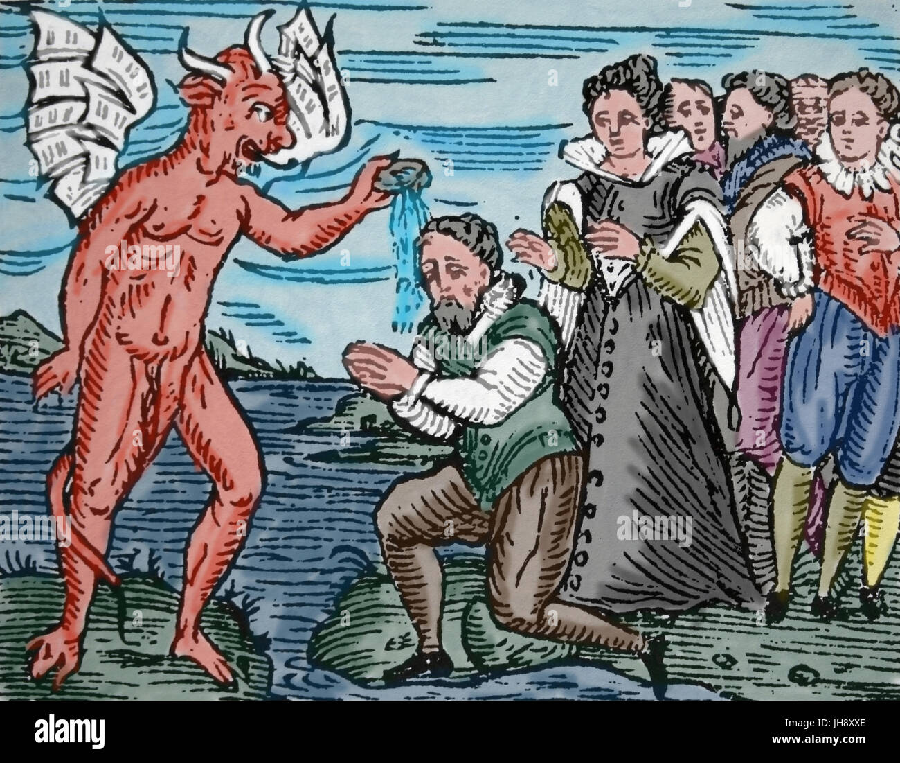 Satan rebaptizing young sorcerers. 17th century. Engraving, Color. - Stock Image