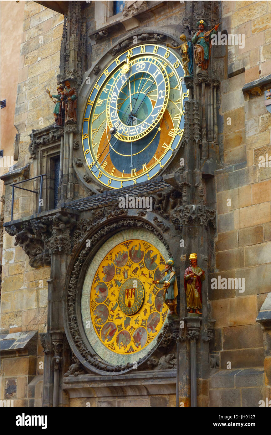 Dating from 1410, the Prague astrological clock is the third oldest astronomical clock in the world, and the oldest - Stock Image