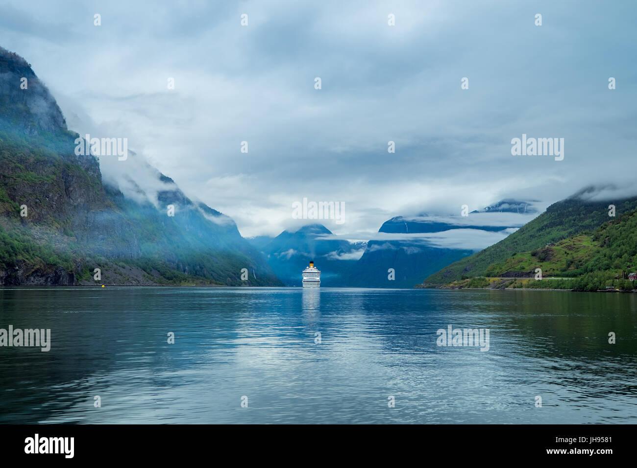 Cruise Ship, Cruise Liners On Hardanger fjorden, Norway - Stock Image